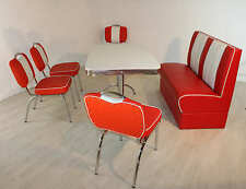 Bank Stuhlgruppe Vegas King 4  American Diner 50er Jahre 6 tlg Sitzbank Rot Weiß