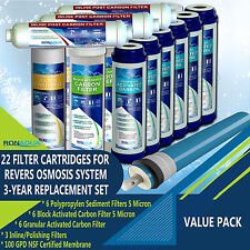 22 Replacement Filters Set for 5-Stage Reverse Osmosis Water Filtration System