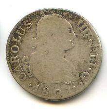 ESPAGNE CHARLES IV (1788-1808) 2 RÉALES ARGENT 1801 FA MADRID