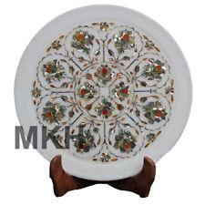 White Marble Inlay Plate Antique Serving Decorative Stone Vintage Pietra Dura