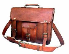 """15"""" Leather Bag Men's Genuine Brown  Messenger Shoulder Laptop Bag Briefcase New"""