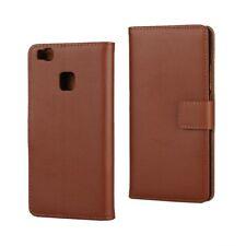 Huawei p9 Lite wallet sac téléphone portable cuir veritable Book étui Cover Aimant Bag Marron