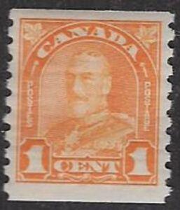 Canada, 1928 George V, 1¢ Orange Coil, Sc #178, Mint F/VF, LH/OG - CV $15.00