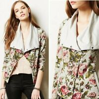 Anthropologie Saturday Sunday Womens Florascape Floral Moto Knit Jacket XS