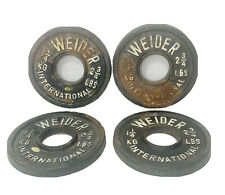 Lot Of 4 Olympic 2 3/4 Lb Weider International Cast Iron Weight Plate 1 1/4 Kg