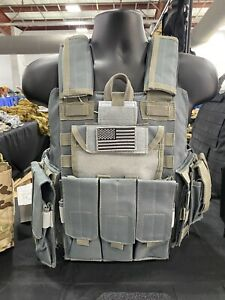NEW! Tactical Vest Grey Blue Plate Carrier Military Rig- Adjustable