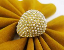 22k Yellow Gold Baby Pearl Seed Pearl Dome Women's Ring Cocktail Ladies Ring