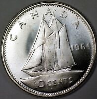 1964 Canada Silver Dime 10 Cents BU Queen Elizabeth II Ship Coin