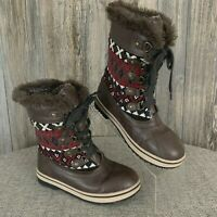 MUKLUKS Winter Boots Women's 8 Thinsulate Brown Lace-Up Aztec Print Faux Fur