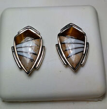 Tiger Eye Picture Stone Mother of Pearl Shield style SterlingSilver Earring#3037