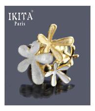 Luxus Ring 3D Damenringe Fingerringe IKITA Paris Elastisch Emaille Blumen Glas