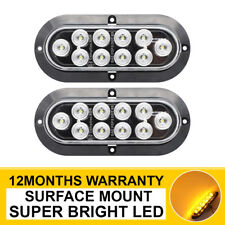 """2 X Oval Amber 6"""" Clear Lens 10 LED Turn Signal Lights Trailer Truck RV Boat Bus"""