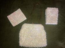 Vintage Jem White Beaded Evening Bag, Wallet, Cigarette Holder