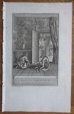 J. de la Fontaine: Fable Original Engraving Cat and Dog  - 1786