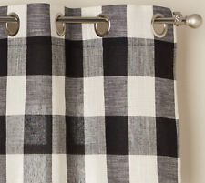"""Courtyard Plaid Woven Curtain Panel with Grommets, Black, 84"""" length, Lorraine"""