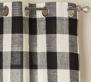 "Courtyard Buffalo Plaid Curtain Panel with Grommets, Black, 84"" length, Lorraine"