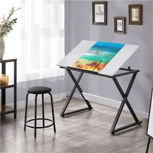 Tiltable Tabletop Drawing Table, Artists Drafting Desk, Work/Study at Home,White