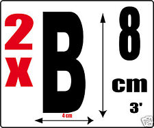 lot 2 lettres [B] Sticker autocollant noir hauteur 8cm Lettre adhésive en vinyle