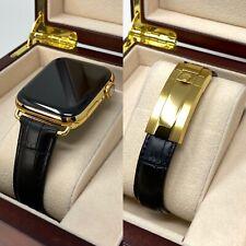 Custom 24K Gold 44MM Apple Watch SERIES 5 Black Alligator Deployment ROLEX Buckl