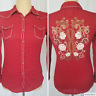 Ariat Womens Red Western Rodeo Snap Shirt Medium Embroidered Long Sleeve Fitted