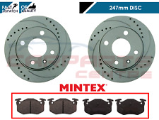FOR PEUGEOT 206 2.0 GTi 180 REAR DRILLED AND GROOVED BRAKE DISCS AND MINTEX PADS