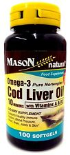 Mason Natural Omega-3 Cod Liver Oil with Vitamin a and D3 Food Supplement Softge