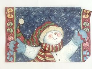 """Magnetic Mailbox Cover Large Size 13""""x20"""" Flat Snowman Winter Snowflakes"""