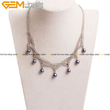 Women Cultured Freshwater 7 Granule Black Pearl Necklace Jewelry Christmas Gift