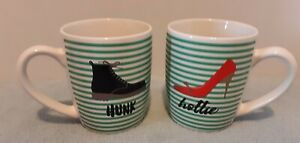American Atelier Set Of Two Cups/ Mugs With Gold Accents Hunk & Hottie