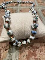 Vintage Venetian Murano Millefiori Hand Knotted Glass Bead Necklace