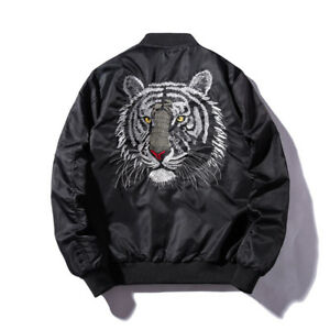 NEW Men's Air Jacket Army Flight Bomber Tiger Head Embroidery Coat Outwear