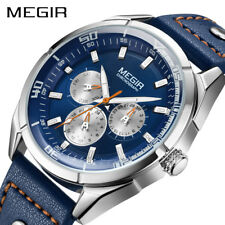 Megir Brand Quartz Watches Mens Army Military Sports Watch Genuine Leather Band