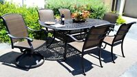 Cast aluminum wicker furniture 7 piece dining set Santa Clara outdoor patio