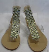 Summer new Gold/clear ankle strap roman Gladiator SANDALS  SIZE 7.5