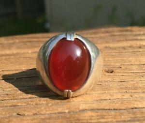 Vintage Sterling Silver Carnelian Gemstone Mens Ring Size 9.5