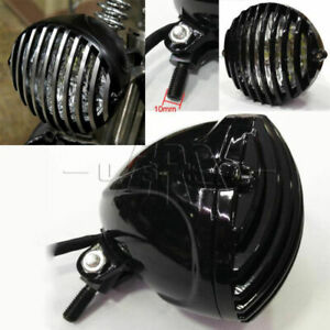Motorcycle Black Headlight Finned Grill Fit For Harley Chopper Bobber Cafe Racer