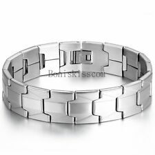 Charm 16mm Wide Men's Bracelet Stainless Steel Link Cuff Bangle Wristband 8.1""