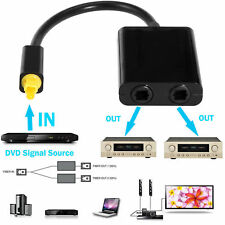 Durable Dual Port Toslink Digital Optical Adapter Splitter Fiber Audio Cable UK