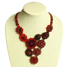"NE504 Glamour Czech Crystals Glass Beads Button 22"" Necklace Garnet Magnet Clasp"