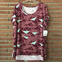 Lularoe Classic T Women's 3XL Top Geometric Triangle Plus Size Red Teal USA NWT