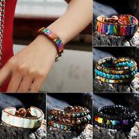 Handmade 7 Chakras Natural Stone Leather Wrap Wristband Beaded Bracelet Bangle