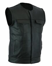 Men's SOA Collarless Leather Vest Motorcycle Biker Club Concealed Carry Outlaws