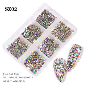 1 Box Mixed Size Glass Nail Art Rhinestones Flatback AB Crystal 3D Gems Manicure