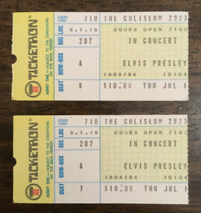 PAIR of Authentic 1975 Elvis Presley concert ticket stubs 1/w FULL NAME & COAs