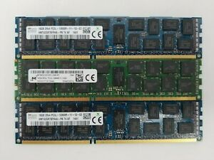 LOT OF 3 - 16GB PC3L 12800R DIMM Memory / RAM - Micron and Hynix - 48GB Total