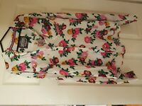 LADIES BNWOT SUPERDRY WHITE FLORAL LONG SLEEVE SHIRT SIZE L