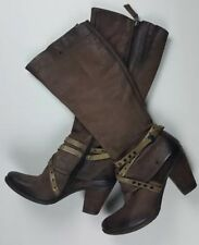MJUS Womens Brown Motorcycle High Knee Boots Shoes 38 Leather With Straps Zipper
