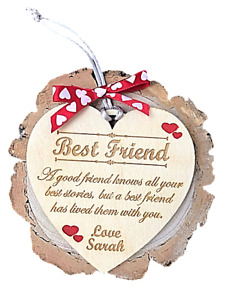Personalised Best Friend Handmade Wood Hanging Heart Plaque Gift Friendship Sign