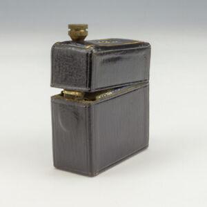 Antique Black & Gilt Tooled Leather - 'INK' Pocket Travel Inkwell