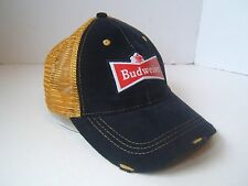 Budweiser Beer Snapback Trucker Hat Bud 1876 Factory Distressed Blue Yellow Cap
